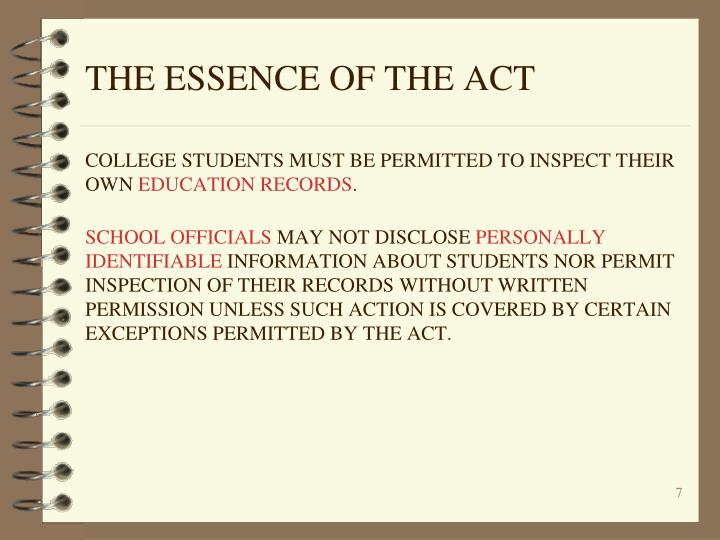 THE ESSENCE OF THE ACT
