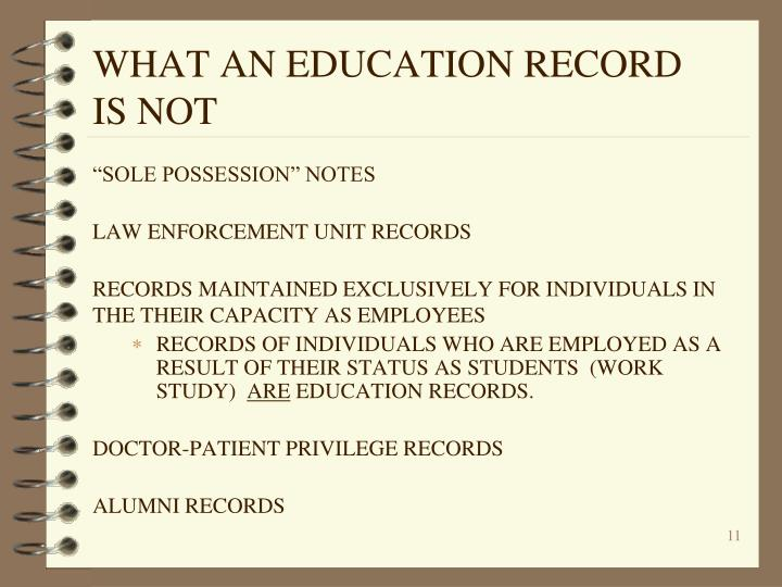 WHAT AN EDUCATION RECORD