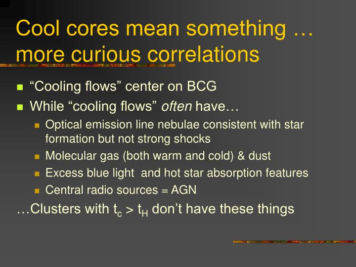 Cool cores mean something …