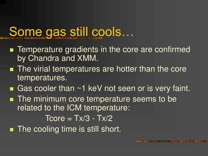 Some gas still cools…