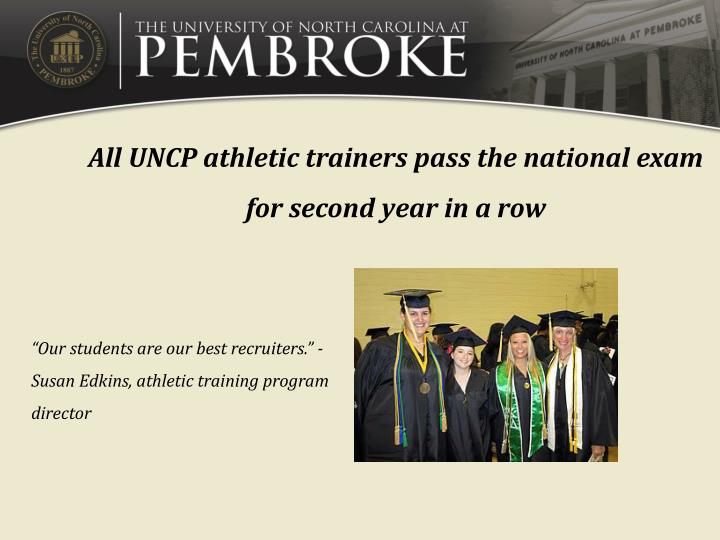 All UNCP athletic trainers pass the national exam for second year in a row