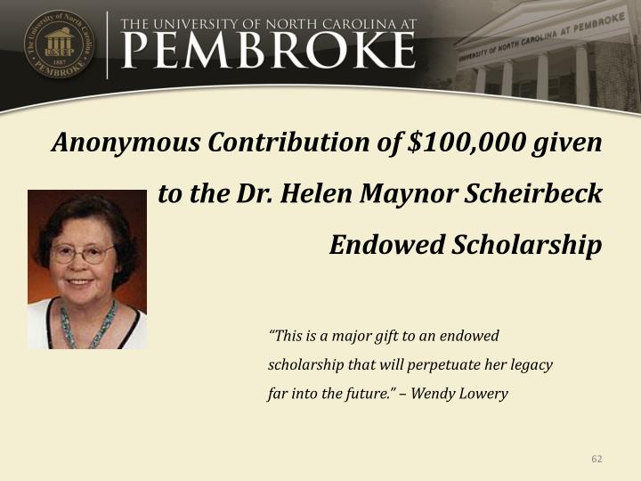 Anonymous Contribution of $100,000 given to the Dr. Helen Maynor Scheirbeck Endowed Scholarship