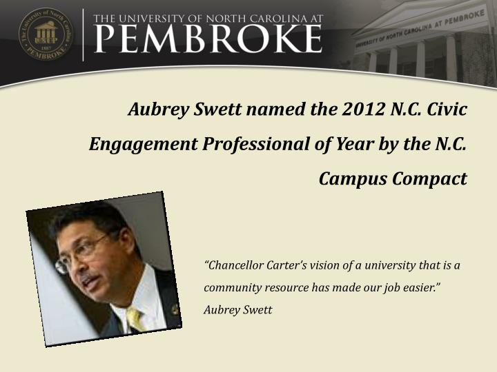 Aubrey Swett named the 2012 N.C. Civic Engagement Professional of Year by the N.C. Campus Compact