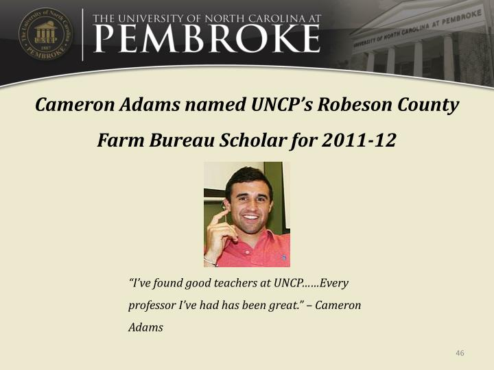 Cameron Adams named UNCP