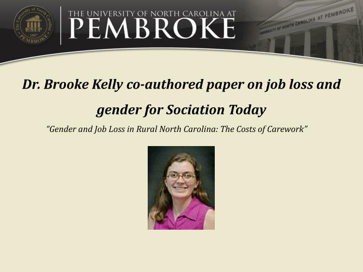 Dr. Brooke Kelly co-authored paper on job loss and gender for Sociation Today