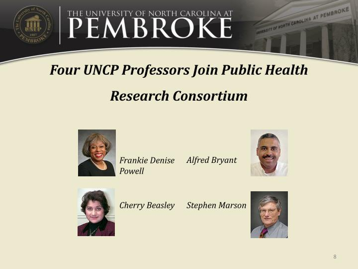 Four UNCP Professors Join Public Health Research Consortium