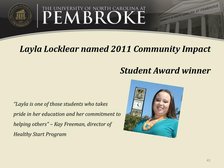 Layla Locklear named 2011 Community Impact Student Award winner