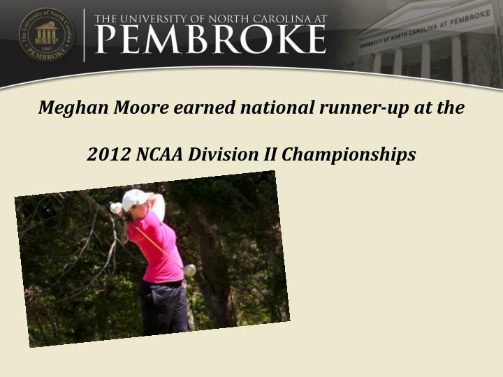 Meghan Moore earned national runner-up at the 2012 NCAA Division II Championships