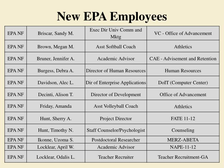 New EPA Employees