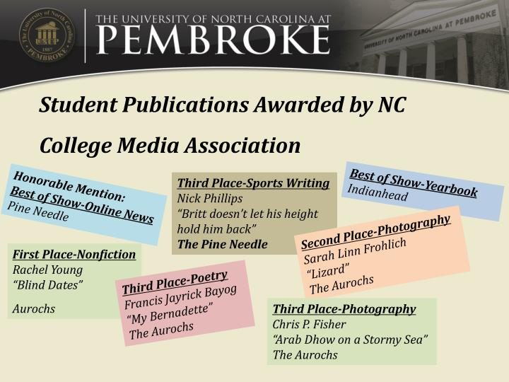 Student Publications Awarded by NC College Media Association