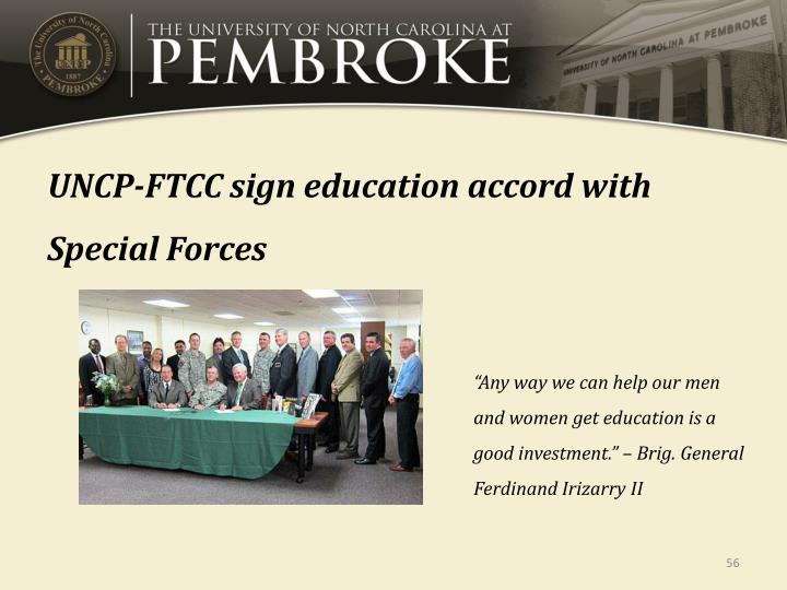 UNCP-FTCC sign education accord with Special Forces