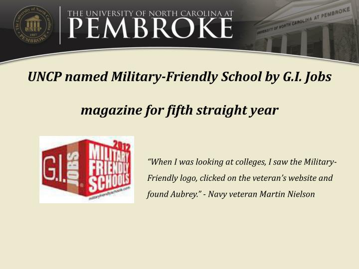 UNCP named Military-Friendly School by G.I. Jobs magazine for fifth straight year