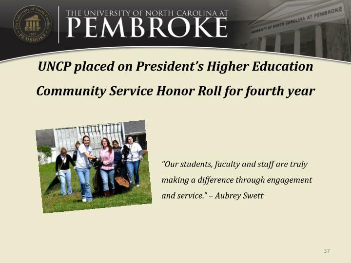 UNCP placed on President
