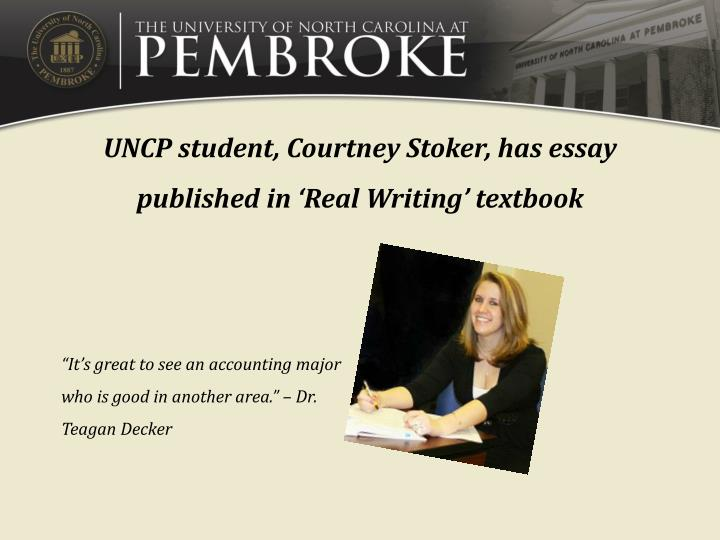 UNCP student, Courtney Stoker, has essay published in
