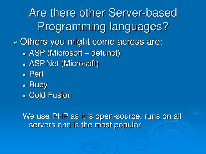 Are there other Server-based Programming languages?