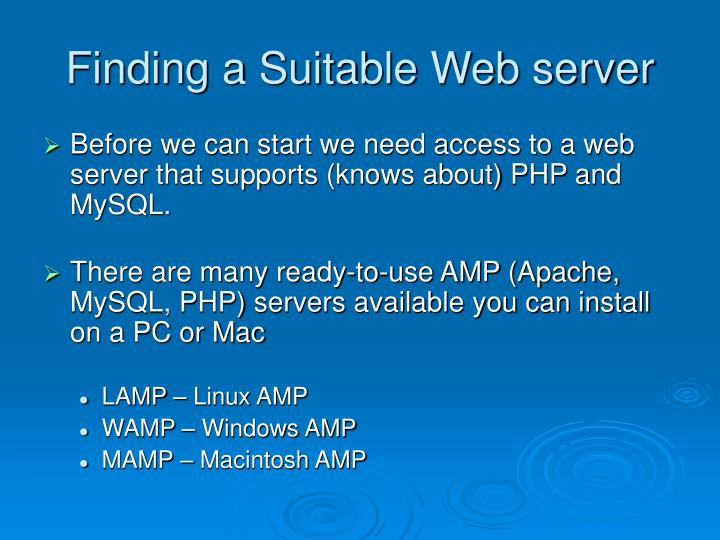 Finding a Suitable Web server