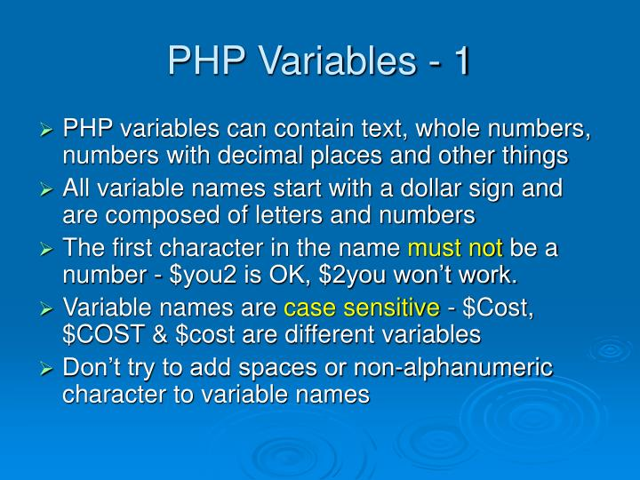 PHP Variables - 1