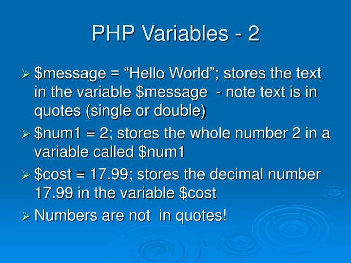 PHP Variables - 2