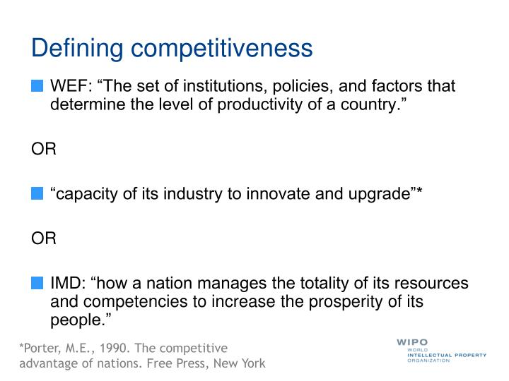 Defining competitiveness