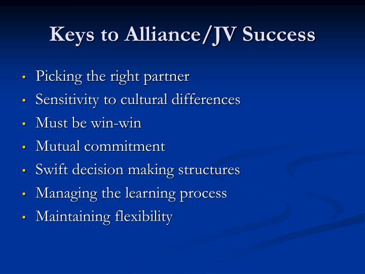 Keys to Alliance/JV Success