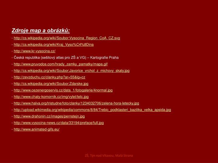 Zdroje map a obrázků:
