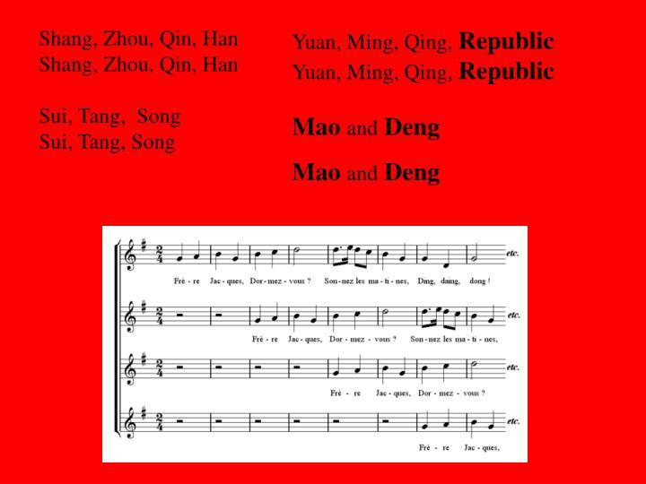 Shang, Zhou, Qin, Han