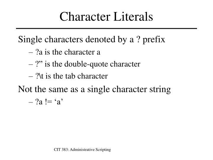 CIT 383: Administrative Scripting