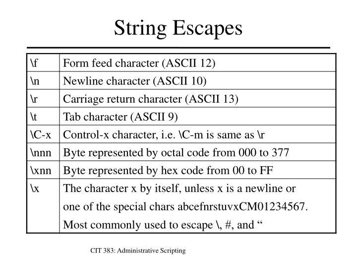 String Escapes