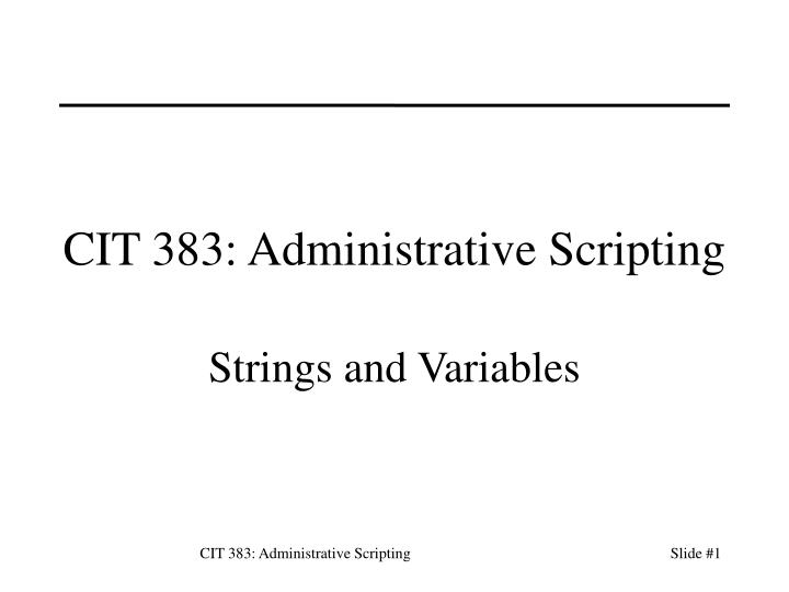 Strings and Variables