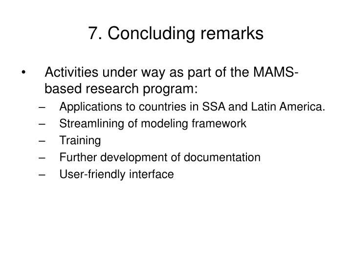 7. Concluding remarks