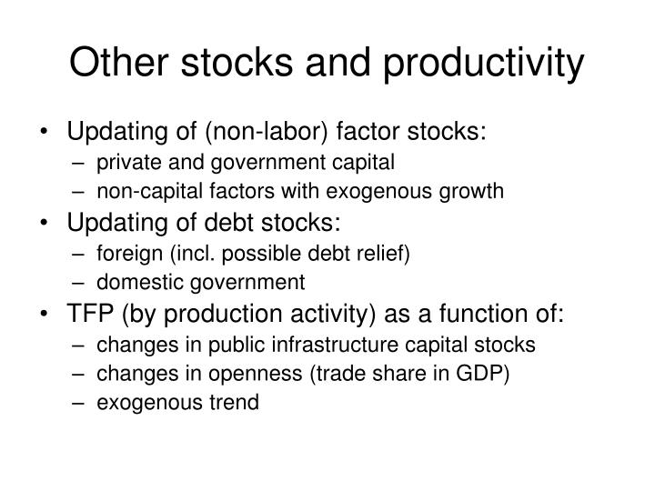 Other stocks and productivity