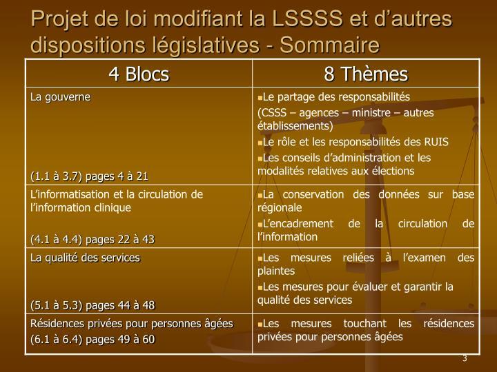Projet de loi modifiant la LSSSS et d'autres dispositions législatives - Sommaire