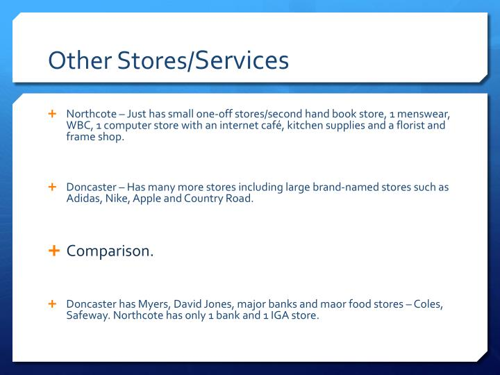 Other Stores/