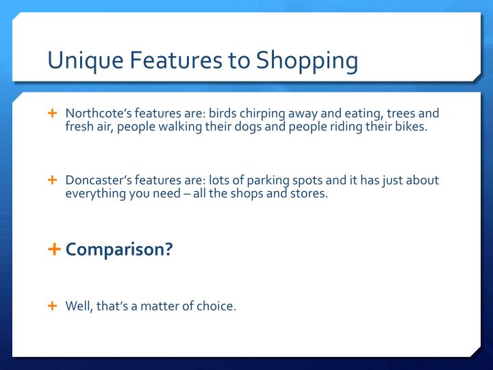 Unique Features to Shopping