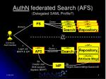 authn federated search afs delegated saml profile