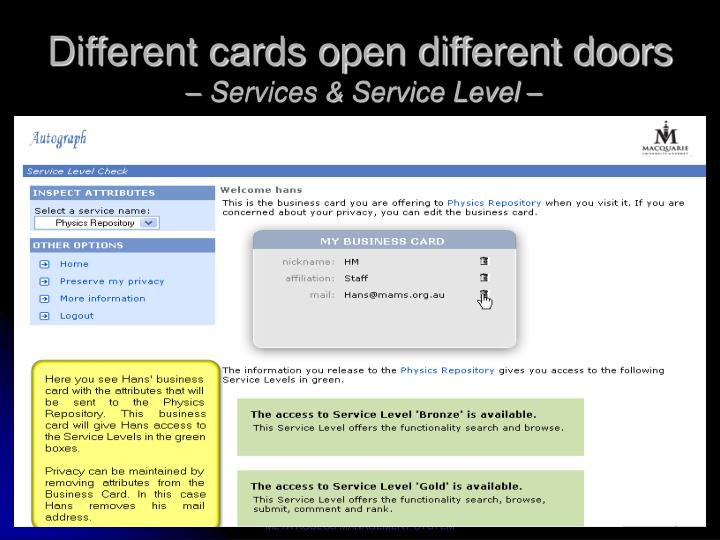 Different cards open different doors