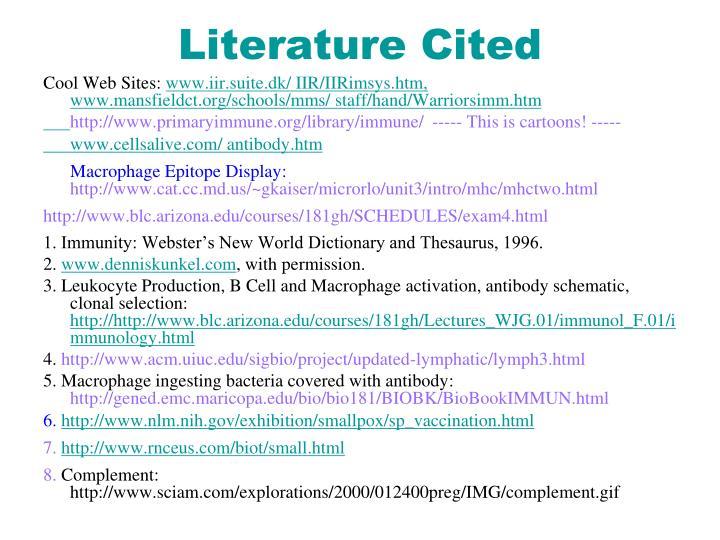 Literature Cited