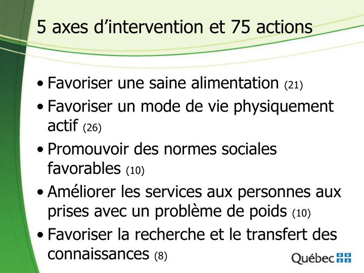 5 axes d'intervention et 75 actions