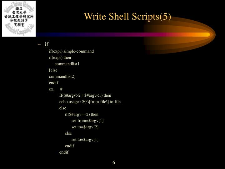Write Shell Scripts(5)
