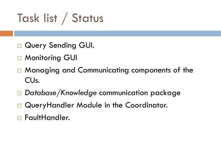 Task list / Status