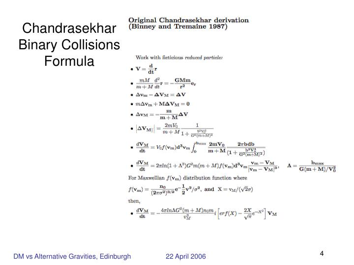 Chandrasekhar Binary Collisions Formula