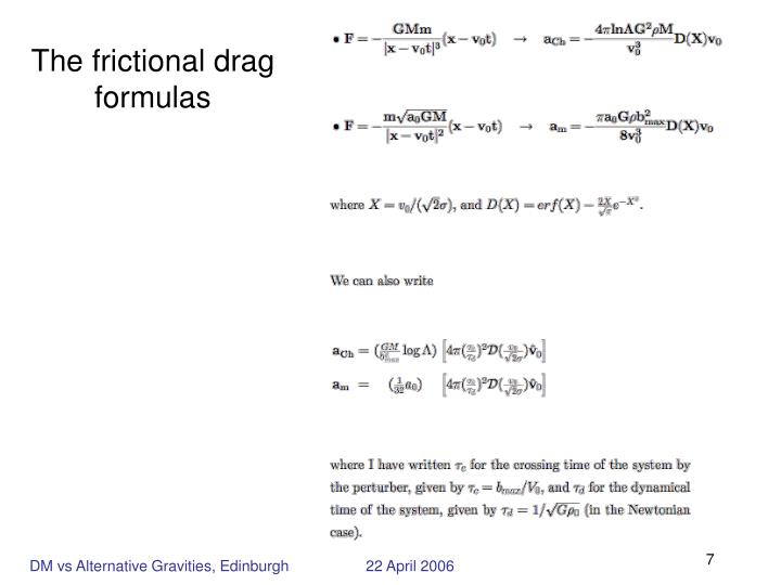 The frictional drag formulas