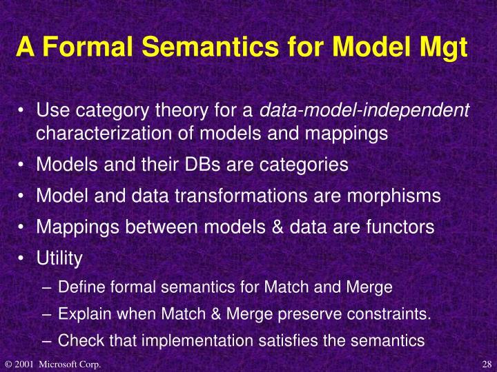 A Formal Semantics for Model Mgt