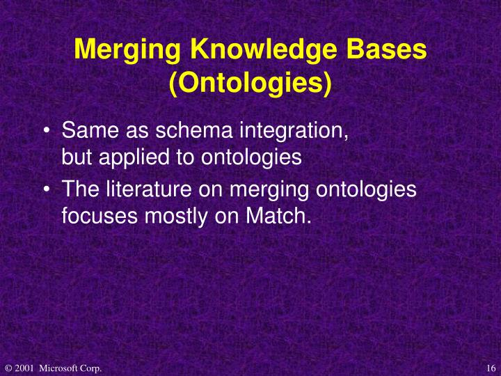 Merging Knowledge Bases (Ontologies)