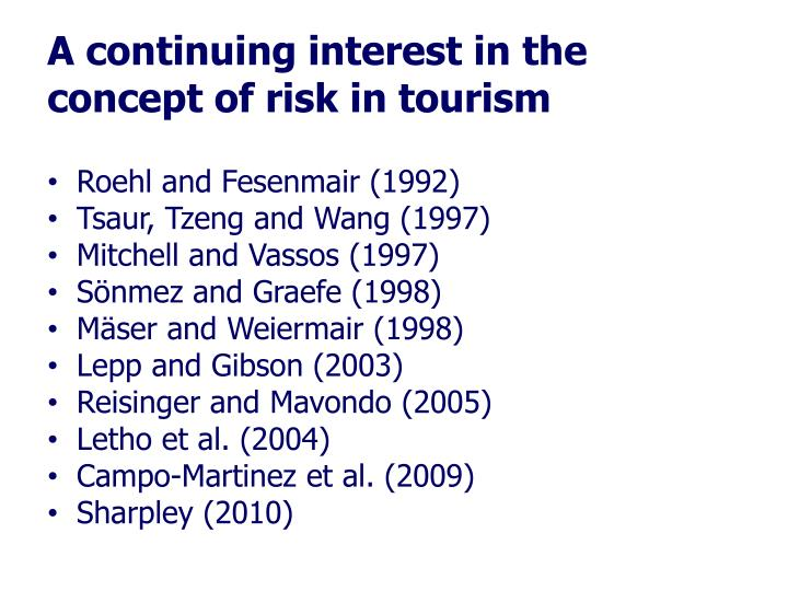 A continuing interest in the concept of risk in tourism