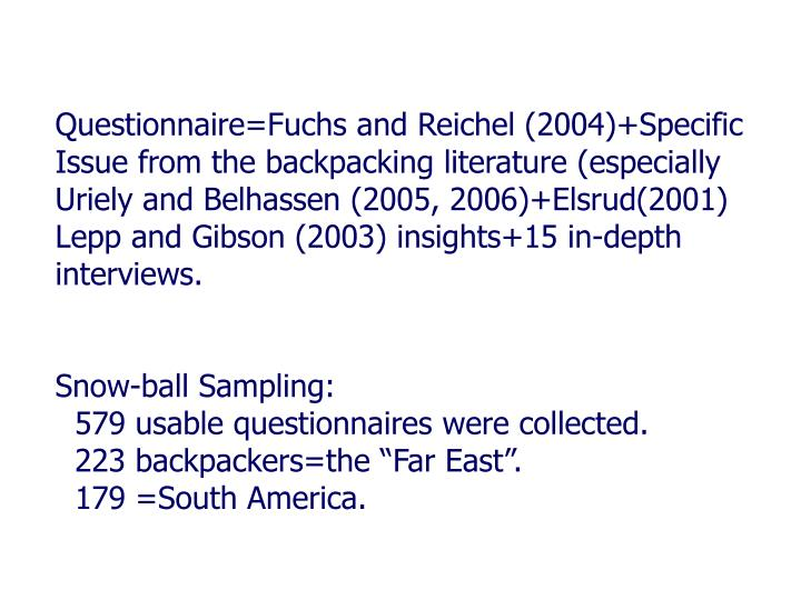Questionnaire=Fuchs and Reichel (2004)+Specific Issue from the backpacking literature (especially Uriely and Belhassen (2005, 2006)+Elsrud(2001) Lepp and Gibson (2003) insights+15 in-depth interviews.