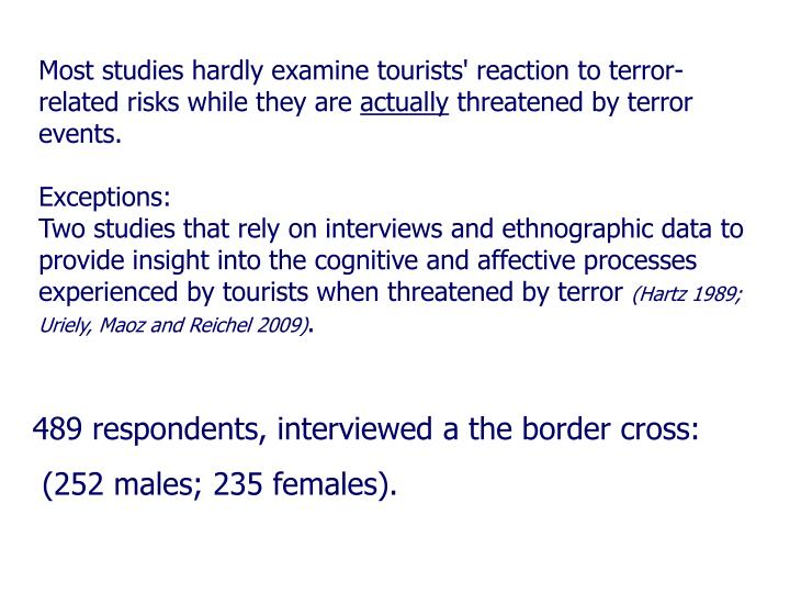 Most studies hardly examine tourists' reaction to terror-related risks while they are