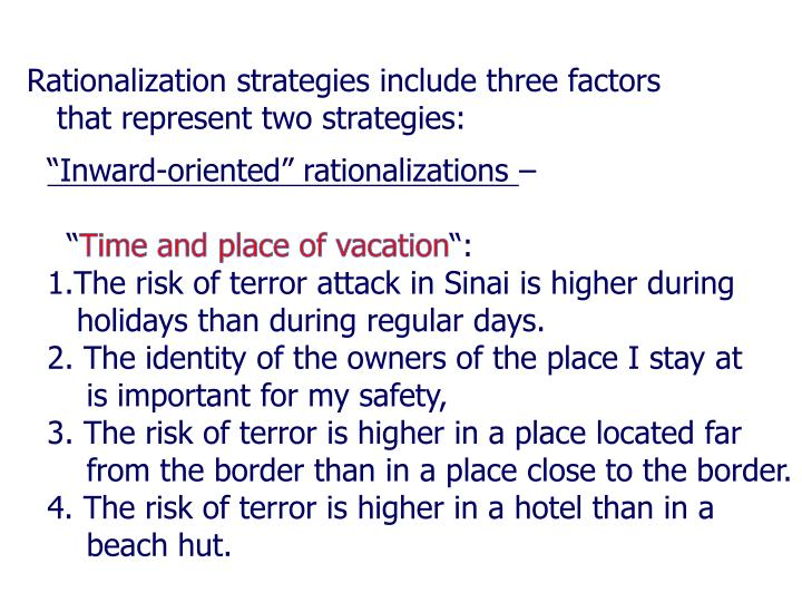 Rationalization strategies include three factors that represent two strategies: