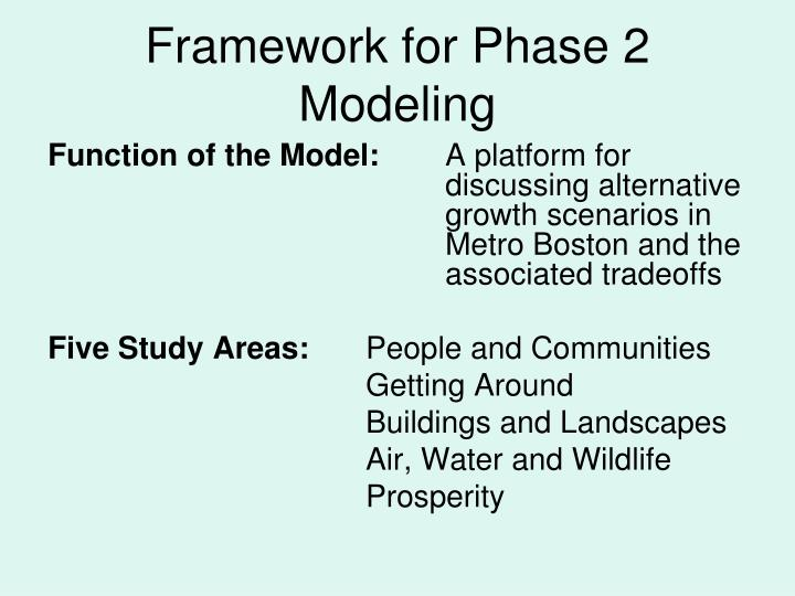 Framework for phase 2 modeling