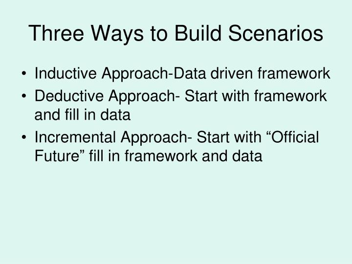 Three Ways to Build Scenarios